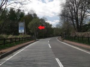 およそ200m先の三差路を左折(以降、案内看板あり)